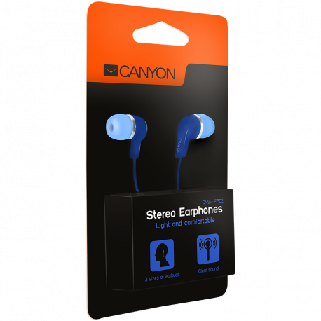CANYON Stereo Earphones with inline microphone Blue cable length 1.2m 20*15*10mm 0.013kg
