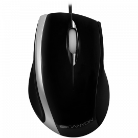 CANYON wired optical mouse with 3 buttons DPI 1000 USB2.0 Black/Silver cable length 1.2m 107*71.5*39.8mm