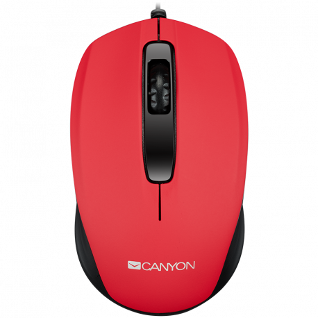 CANYON wired optical mouse with 3 buttons DPI 1000 Red cable length 1.26m 35.2*103*60mm 0.07kg