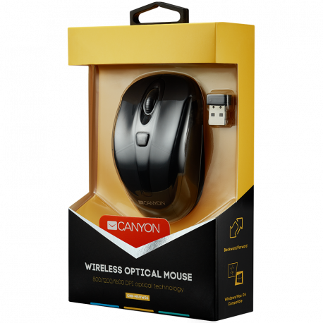 CANYON 2.4GHz wireless optical mouse with 6 buttons DPI 800/1200/1600 Black 92*55*35mm 0.054kg
