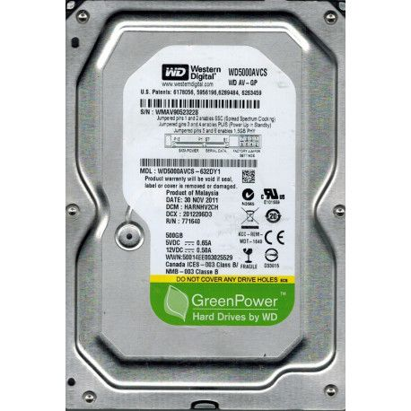 WD HDD 500GB SATA2 16MB Pull