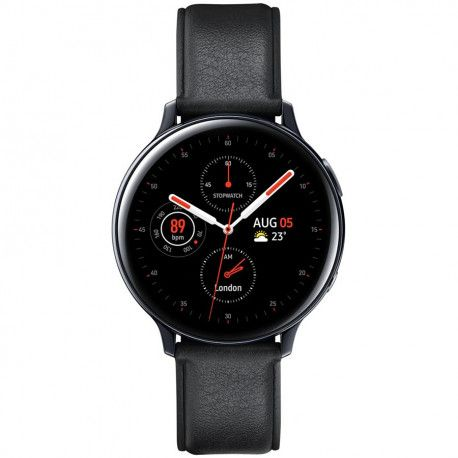 Samsung Galaxy Watch Active2 44mm Stainless Aqua Black (Aluminum Bluetooth Strap: Leather Band)