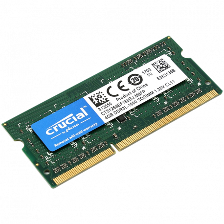 Crucial RAM 4GB DDR3L 1600 MT/s (PC3-12800) CL11 SODIMM 204pin 1.35V/1.5V