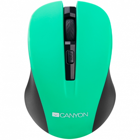 CANYON 2.4GHz wireless optical mouse with 4 buttons DPI 800/1200/1600 Green 103.5*69.5*35mm 0.06kg