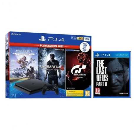 PlayStation 4 1TB F chassis + Gran Turismo Sport + Horizon Zero Dawn + Uncharted + The Last of Us 2