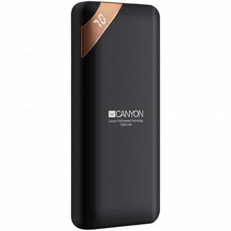 CANYON Power bank 10000mAh Li-poly battery Input 5V/2A Output 5V/2.1A(Max) with Smart IC and power