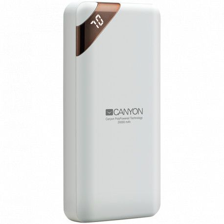CANYON Power bank 20000mAh Li-poly battery Input 5V/2A Output 5V/2.1A(Max) with Smart IC and