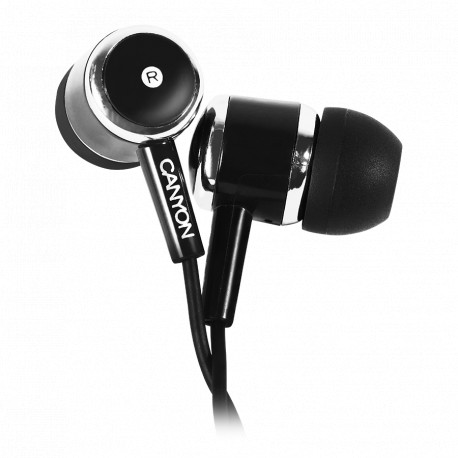 CANYON Stereo earphones with microphone Black cable length 1.2m 23*9*10.5mm0.013kg