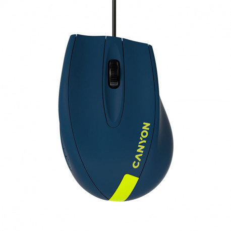 Wired Optical Mouse with 3 keys DPI 1000 With 1.5M USB cableBlue-Yellow size 68*110*38mmweight:0.072kg