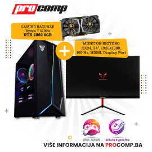 Gaming Računar Ryzen 7 3700X, 16GB, 240 GB SSD, RTX 2060 6GB +Monitor Riotoro STINGRAY RX24 165Hz