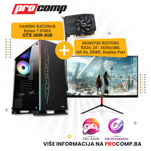Gaming Računar Ryzen 7 3700X, 16GB, GTX 1650 4GB + Monitor Riotoro STINGRAY RX24 165Hz